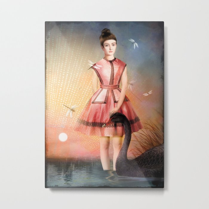 Girl In The Lake Metal Print