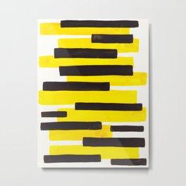Yellow Primitive Stripes Mid Century Modern Minimalist Watercolor Gouache Painting Colorful Stripes Metal Print