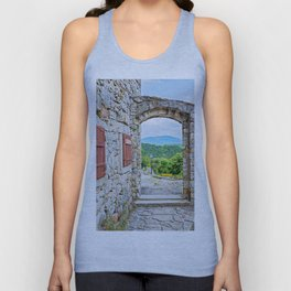 Town of Hum stone gate and street view Unisex Tank Top