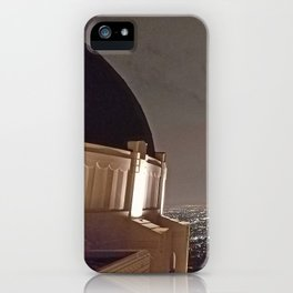 Griffith Observatory under cloudy night skies iPhone Case