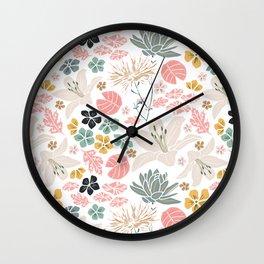 Dusky Japanese pond florals Wall Clock