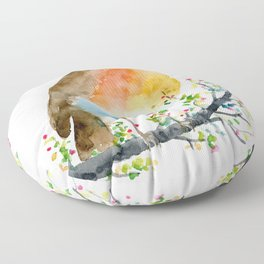 Watercolor Robin on Berry Branch Floor Pillow