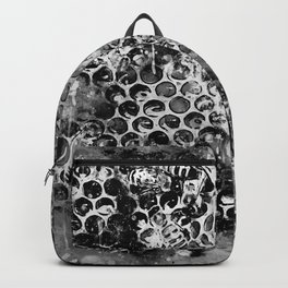 bees fill honeycombs in hive splatter watercolor black white Backpack