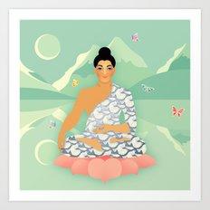 Sacred World: Blue Yogi Art Print