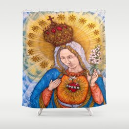 Immaculate Heart Of Virgin Mary Drawing Shower Curtain