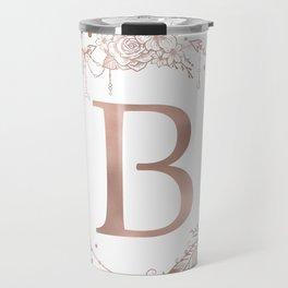 Letter B Rose Gold Pink Initial Monogram Travel Mug