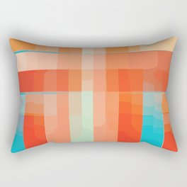 Orange Turquoise Summer Abstract Design Rectangular Pillow