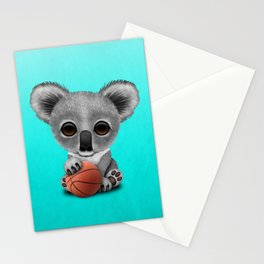Cute Baby Koala Playing With Basketball Stationery Cards