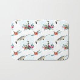 Summertime Nautical Narwhal Bath Mat