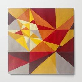Mountains 70s retro abstract landscape - Tan, Burnt Sienna & Crimson Metal Print