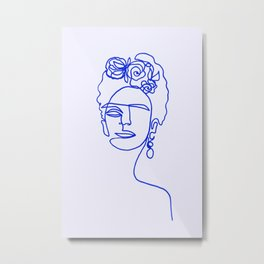Frida Kahlo Blue Metal Print