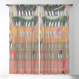 ABSTRACT CUTOUTS Sheer Curtain