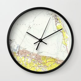 Vintage Map of Sandy Hook NJ (1954) Wall Clock