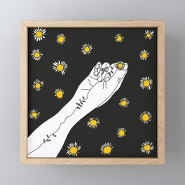Miss Daisies in black Framed Mini Art Print