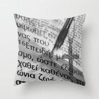 bible Throw Pillows featuring Multilingual Bible Study by Clayton Jones