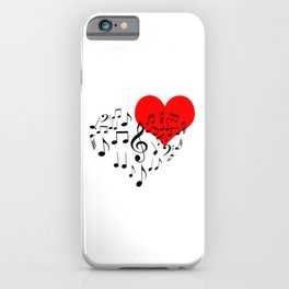 The Singing Heart. Black On White. Simple And Chic Conceptual Design iPhone Case