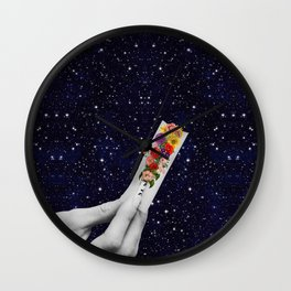 Rolling Flower in Space Wall Clock