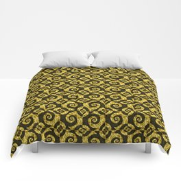 Black and gold Spirals Comforters