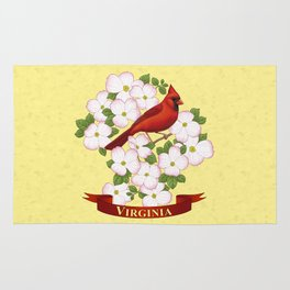Virginia State Cardinal Bird and Flowering Dogwood Rug