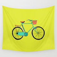 bicycle Wall Tapestries featuring Bicycle by bluebutton studio