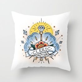 Cleric - Vintage D&D Tattoo Throw Pillow