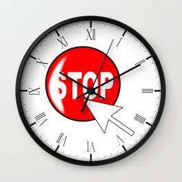 Computer Icon Stop Wall Clock