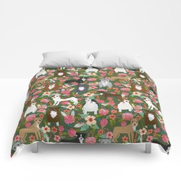 Pitbull mixed coats floral dog breed pibbles must have pitbulls lovers Comforters