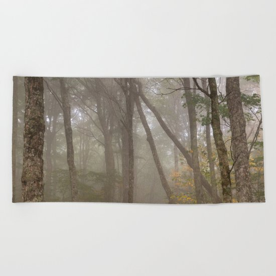Misty Spruce Knob Forest Beach Towel