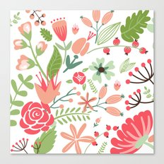 Floral pink and green pattern Canvas Print