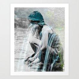 Girl in the Waterfall Art Print