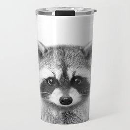 Baby Raccoon Black & White, Baby Animals Art Print by Synplus Travel Mug