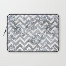 Vintage chic elegant blue gray white geometrical floral pattern Laptop Sleeve