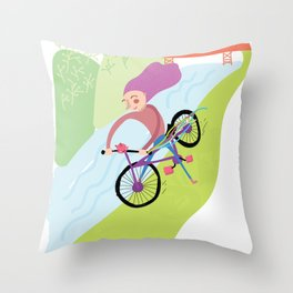 Happy Bike Throw Pillow
