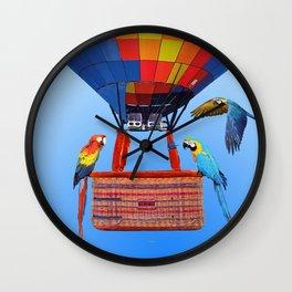 Hot Air Balloon Macaw Parrots Birds Wall Clock