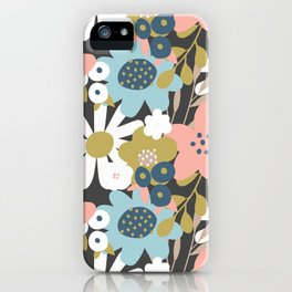 Bold Aqua Blue and Pink Flowers iPhone Case
