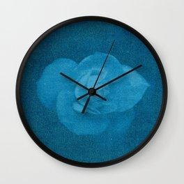 White Flower in Blue Wall Clock