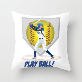 Play Ball! Girls' Softball Throw Pillow