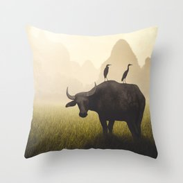Water Buffalo And Egrets Throw Pillow