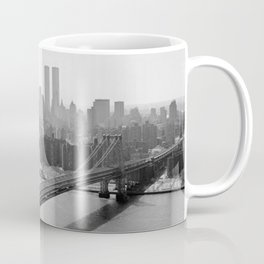Williamsburg Bridge, East River at South Sixth St. & Twin Towers, New York City skyline photograph Coffee Mug