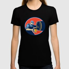 Brewer Bartender Pour Beer Pitcher Barrel Retro T-shirt