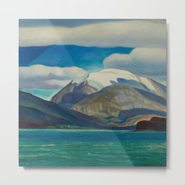 Snowcapped Mountain by the Seacoast nautical landscape painting 1924 by Rockwell Kent Metal Print