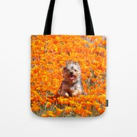 minnie Tote Bags featuring Yorkie in Poppies by Sue Liberto Photography