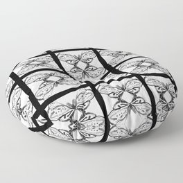 Pattern abstract square tile butterfly nanquim black and white Floor Pillow
