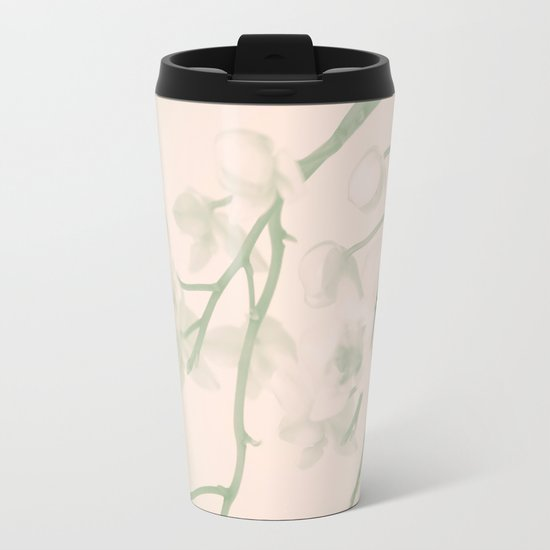 Flower branches on a pastel pink and green background - spring mood Metal Travel Mug