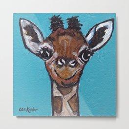 Cute Giraffe Art, Animal Art, Safari Giraffe Metal Print