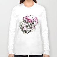 hockey Long Sleeve T-shirts featuring Hockey mandrill  by Detullio Pasquale
