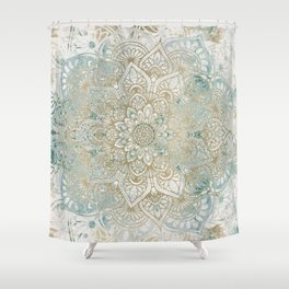 Mandala Flower, Teal and Gold, Floral Prints Shower Curtain