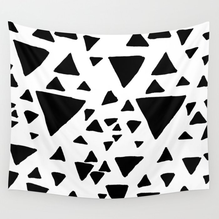 Black White Hand Painted Geometric Triangles Wall Tapestry By Pink Water