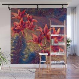 Dreamlike Enchanted Red Lillies Wall Mural