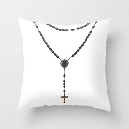 Wooden Rosary I Throw Pillow